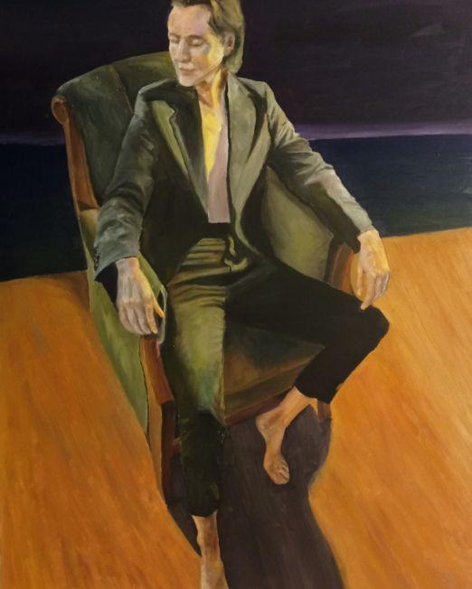 oil painting figure sitting on armchair