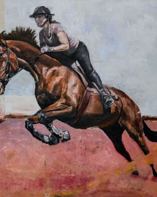 oil painting of horse riding