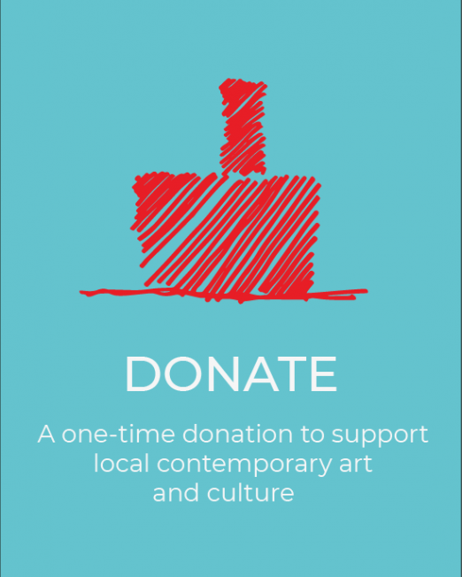 Illustration in red of The Mill on robin egg blue background. Text below illustration reads as - Donate - a one time donation to support local contemporary art and culture.